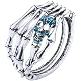 Szxc Jewelry Women's Crystal Skull Skeleton Hand Bangle Bracelet
