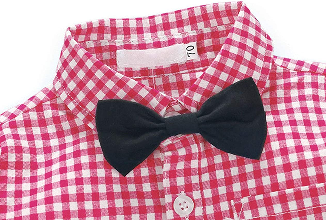 AmzBarley Baby Boys Tuxedo Outfit Toddler Kids Gentle Plaids Shirt and Suspender Pants Clothing Sets