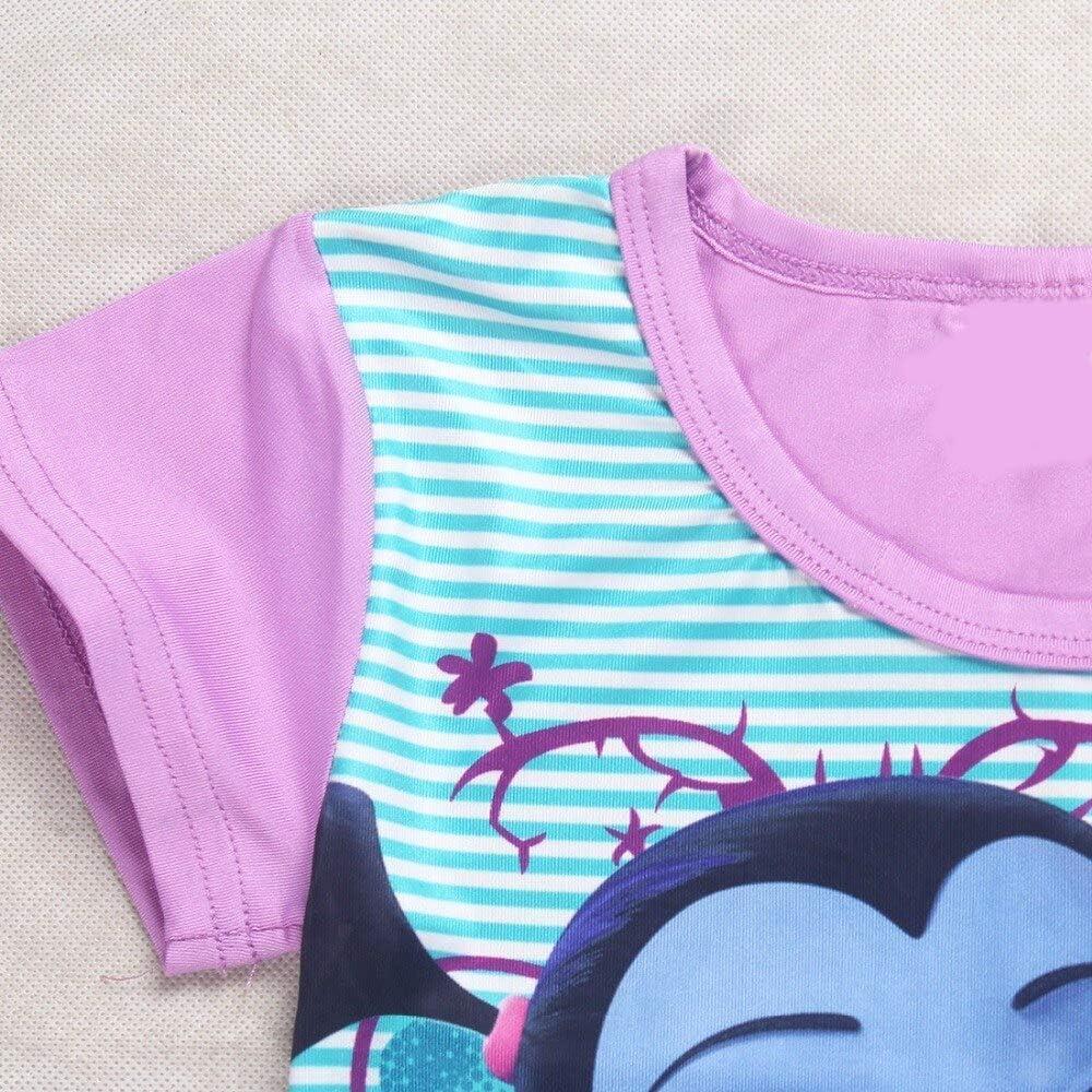 KIRALOVE Abito Bambina Vampirina a Righe Estate Estivo Manica Corta Halloween Cosplay Vestito Bimba Intero Vestitino Colore Viola Carnevale