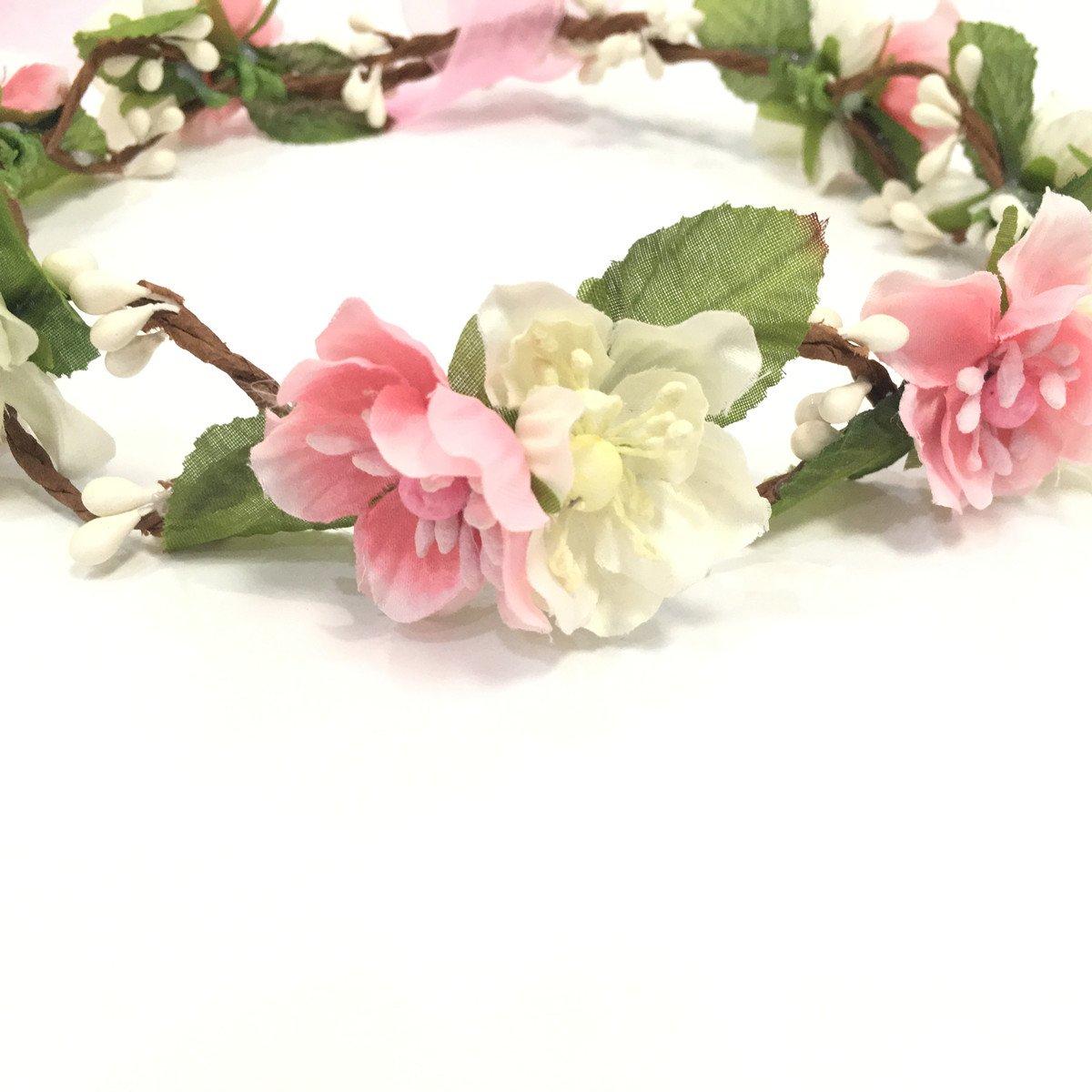 Amazon bridal flower crown floral crown wedding wreath amazon bridal flower crown floral crown wedding wreath headband garland women pink beauty izmirmasajfo