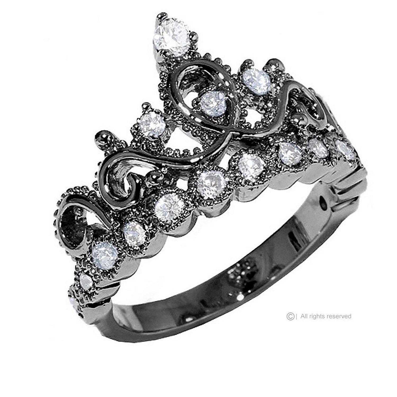 Amazon.com: Sterling Silver Crown Ring / Princess Ring (Black ...