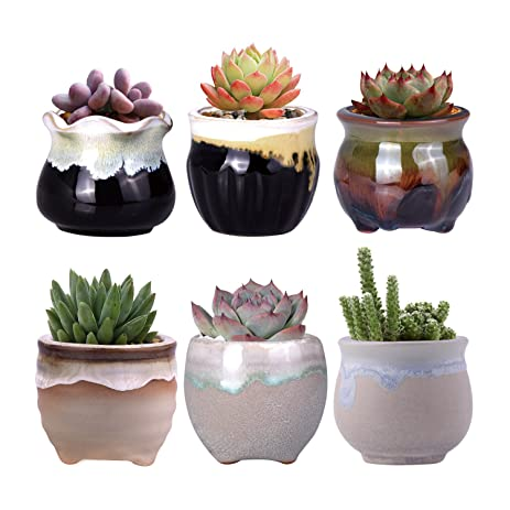Awesome WITUSE Small Planters Cactus Planter Small Cactus Pot Small Succulent Pots,  Glazed Ceramic Plants Pot
