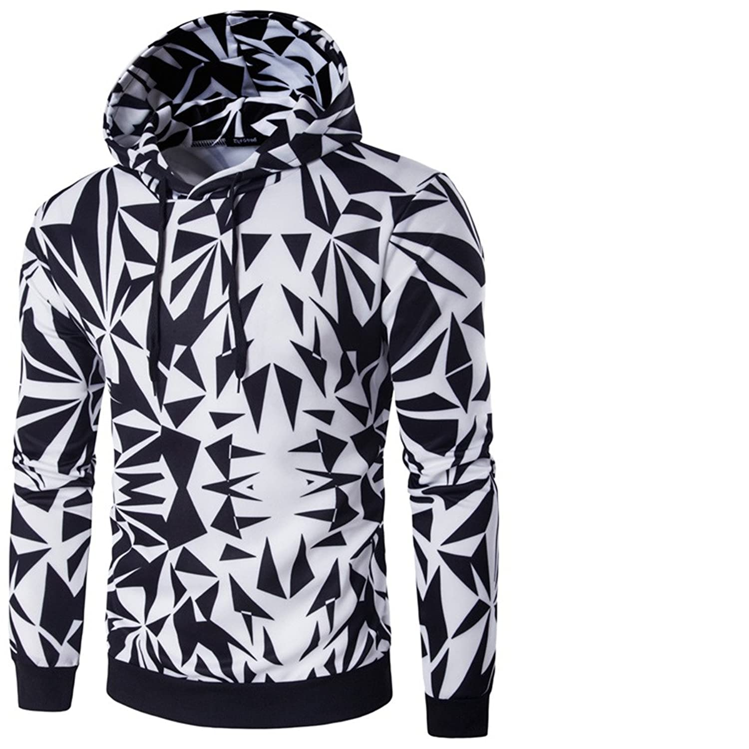 Men's Long Sleeve Digital Print Patchwork Casual Pullover Hoodies