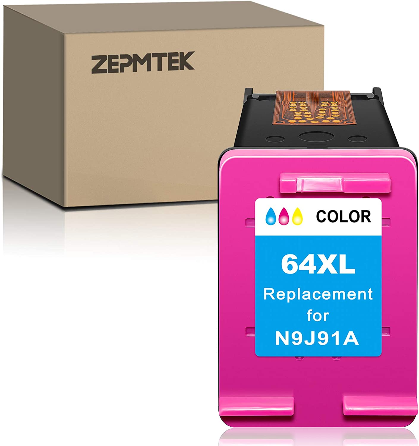 ZepmTek Remanufactured Ink Cartridge Replacement for HP 64XL 64 XL Used with Envy Photo 7800 7858 7155 7855 6255 6252 7158 7130 7164 6222 7120 7130 Tango X Smart Home Wireless Printer (1 Tri-Color)