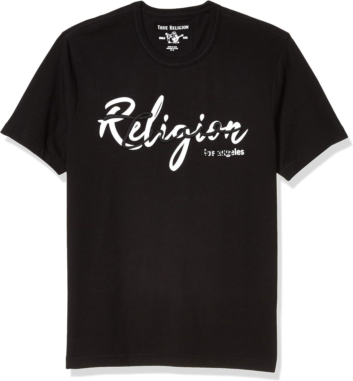 True Religion Men's Graphic Logo Short Sleeve Crewneck Tee Soft Modal Cotton