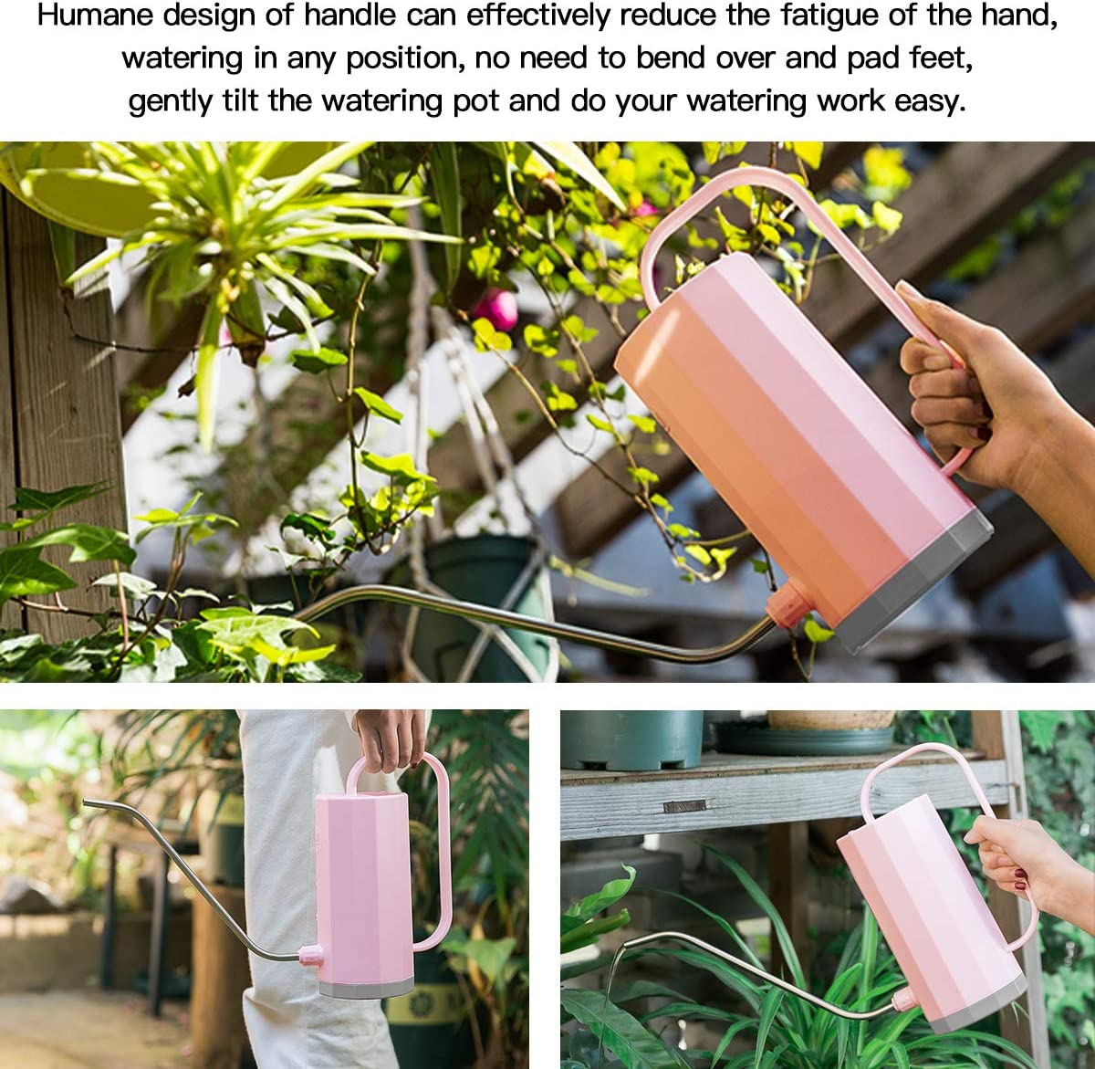 Modern Style Watering Pot REPUGO Watering Can Outdoor Indoor Plant Watering Can Plastic Watering Can with Long Spout 1.2L//40 oz Small Watering Can for House Garden Plants Pink