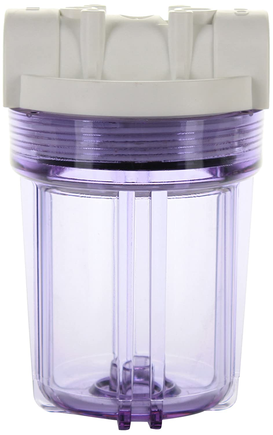 Hydronix HX-HF3-5CLWH14 5 Clear Housing with White Rib Cap For RO /& Filtration Systems 1//4 Ports,