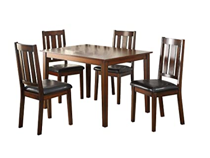 Major Q 5Pc Pack Transitional Style Casual Walnut Finish Set With  Rectangular Dining Table And