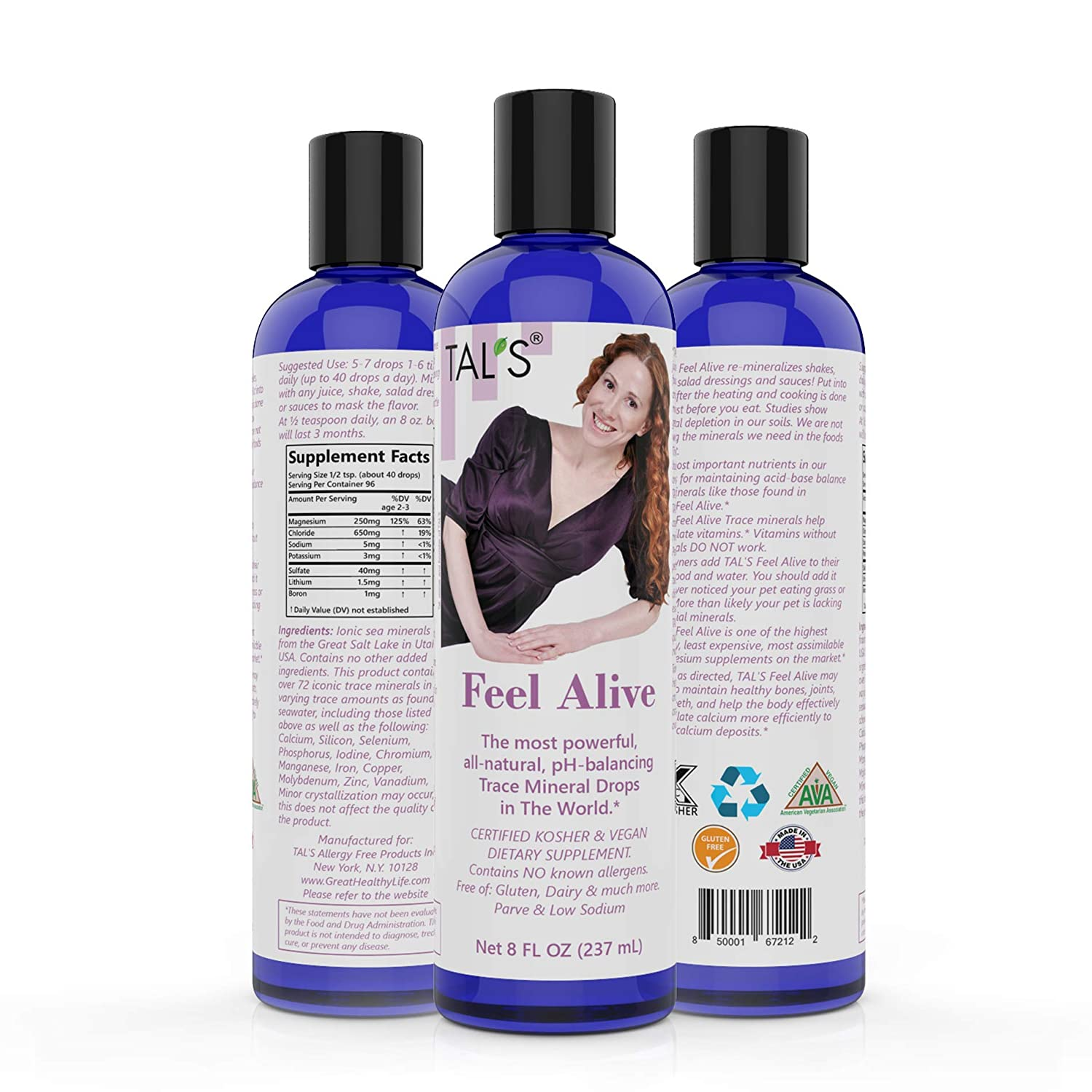 TAL S Feel Alive Trace Mineral Drops All-Natural p-H Balancing Magnesium Supplement Improves Vitamin Calcium Absorption Strengthens Bones Joints Teeth Certified Kosher Non-GMO 8oz
