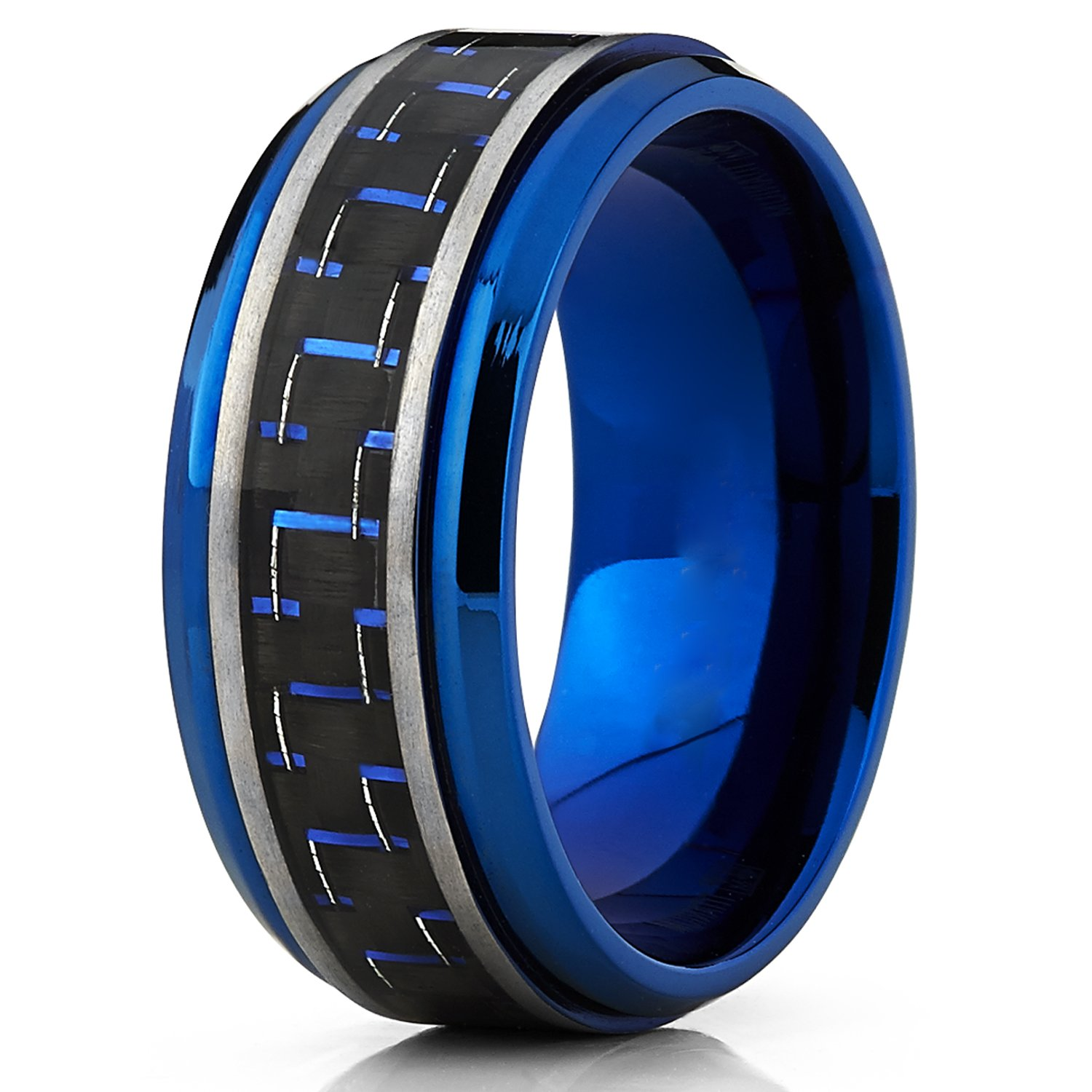 Men S Brushed Blue Titanium Wedding Bands Ring With Black And Blue