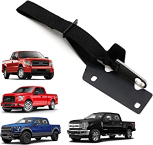 iJDMTOY Rear/Back Seat Quick Release Kit w/ Black Strap & Silver Hook/Ring Compatible With 2009-up Ford F150 4-Door, 2017-up Ford Raptor, F250 F350, etc