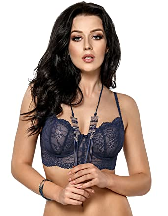 74dd4bdb95c Gorsenia K418 Womens Sapphire Sky Blue Lace Underwired Balcony Longline Bra  36B at Amazon Women s Clothing store