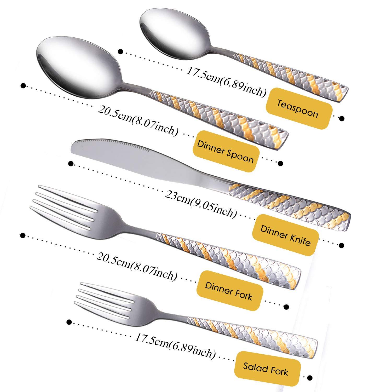 Flatware Set, V KeeW Silverware Set Stainless Steel Cutlery Set for Home Kitchen Hotel Restaurant Tableware, Dishwasher Safe