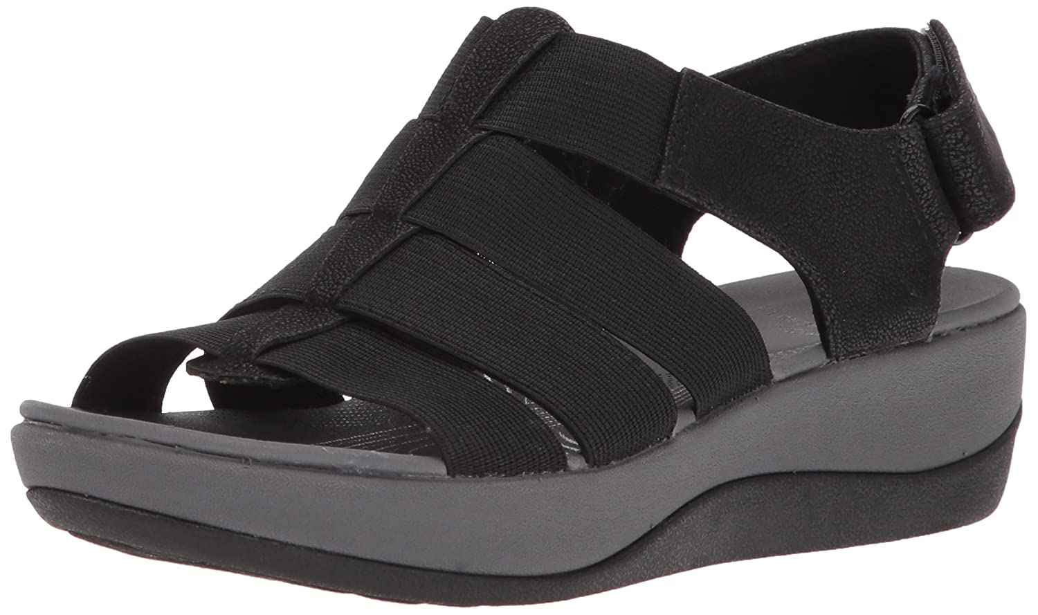 Black elastic fabric Clarks Women's Arla Shaylie Sandals