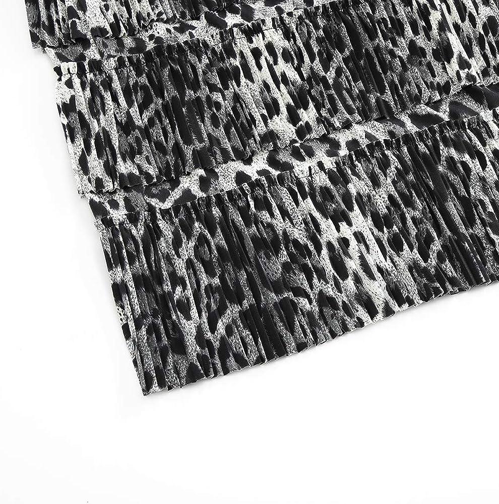 GATHY Women's 7 Tiered Boho Layered Pleated Ruffles Waterfall Maxi Skirt Leopard