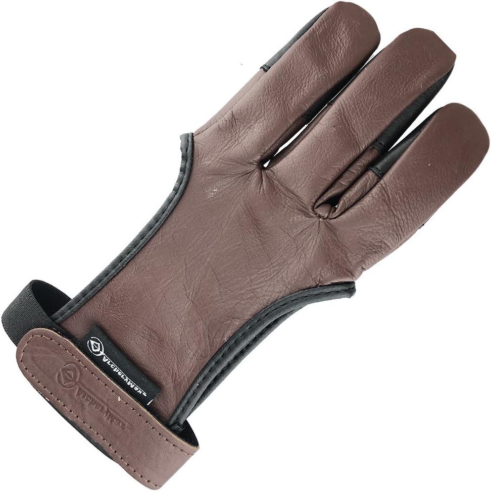 Bogenschützen Leder Schießen 4 Finger Handschuh Schokobraun Schwarz Jagd