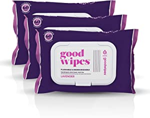 Goodwipes Flushable Butt Wipes, Lavender Scent, Biodegradable with Botanicals, Dispenser for At-Home Use, with Aloe, Septic and Sewer Safe & Never Dries Out, 180 Count (3 Packs of 60)