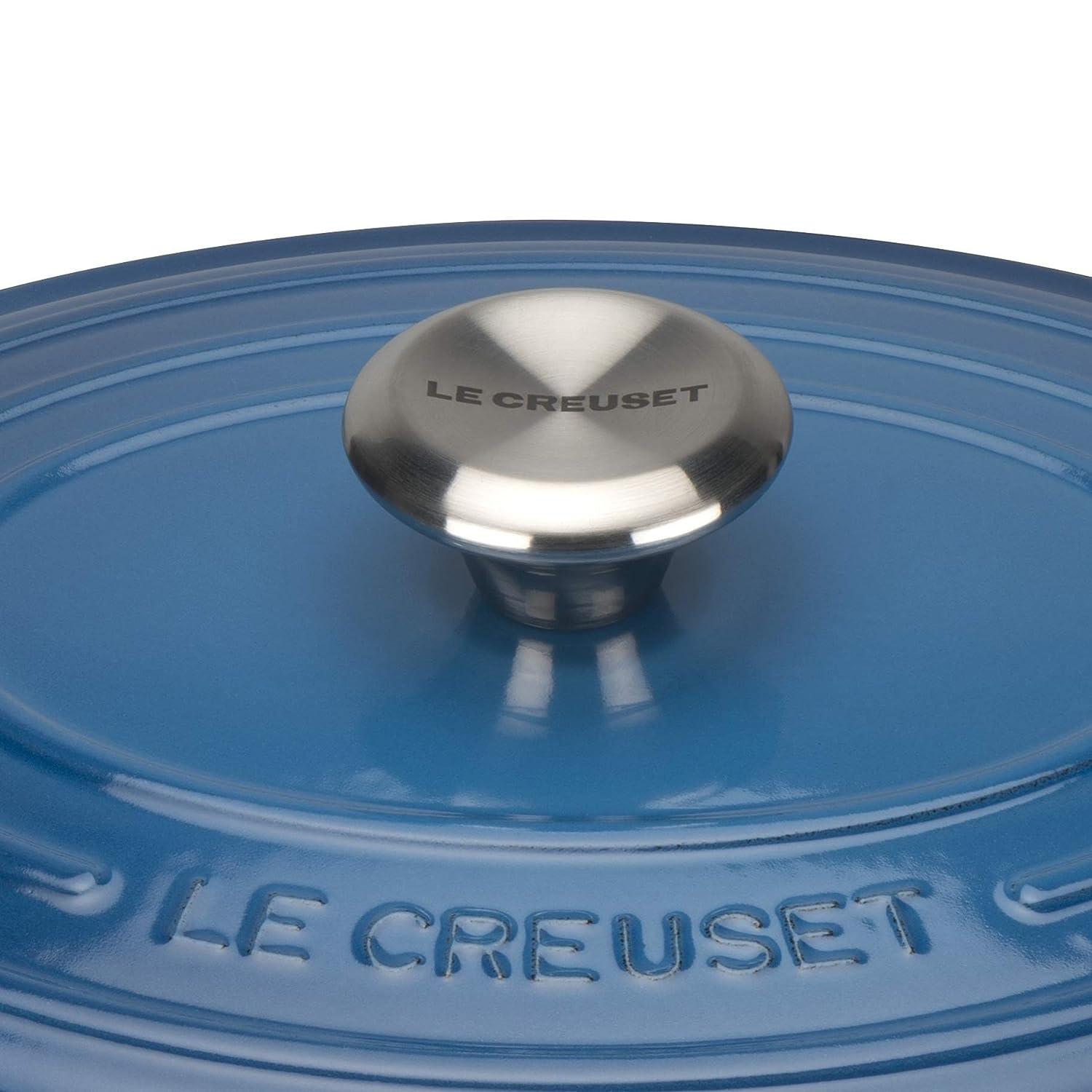 LE CREUSET Evolution Cocotte con Tapa, Ovalada, Todas Las Fuentes de Calor Incl. inducción, 3,2 l, Hierro Fundido, Azul Marseille, 25 cm