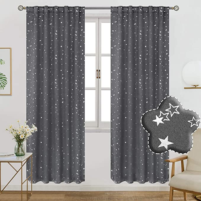 MYRU 2 Panels Set Gray Star Curtains for Kids Bedroom 2 x 46x72 Inch,Gray