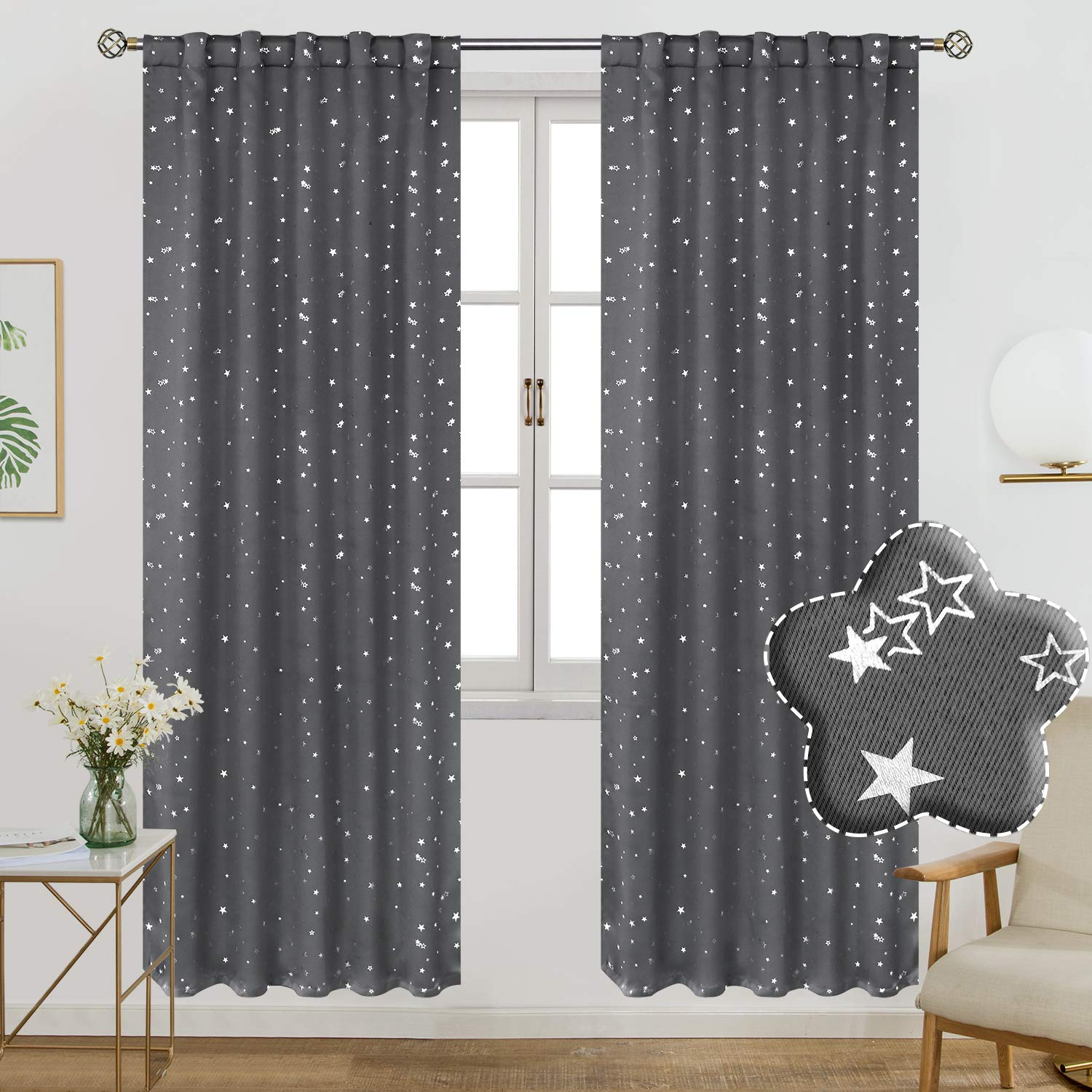 Navy Blue 2 Panels 55 x 96 Inch BGment Rod Pocket and Back Tab Blackout Curtains for Kids Bedroom Sparkly Star Printed Thermal Insulated Room Darkening Curtain for Nursery