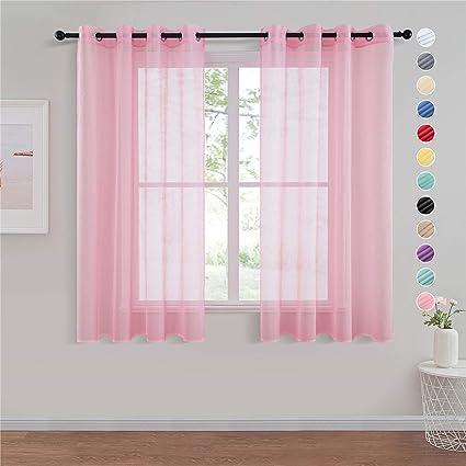 topfinel lot de 2 rideaux voilage rose 140x160 cm a oeillets en lin imitation voilage fenetre transparent pour salon voilage petite largeur decor