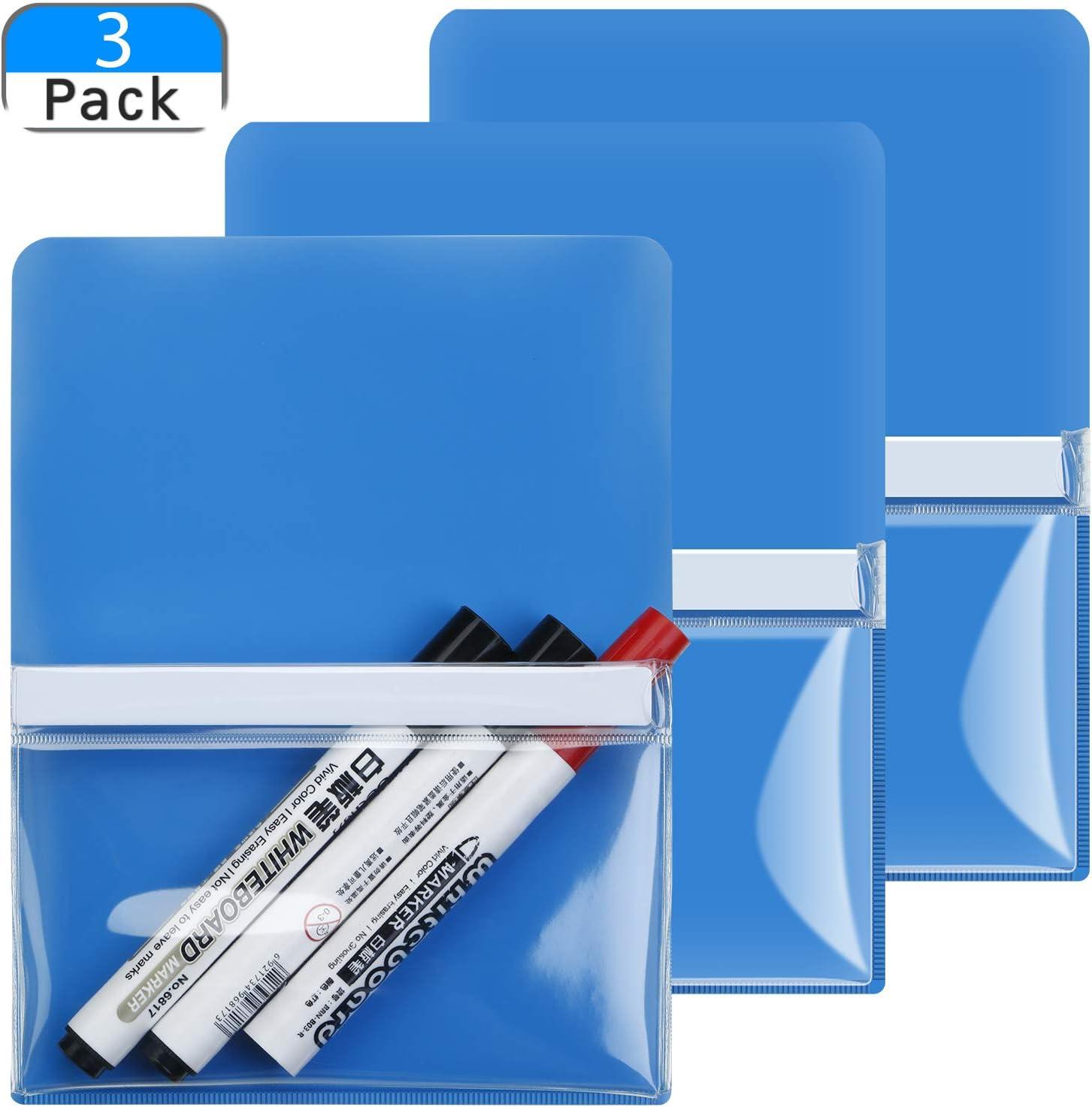 3 Pieces Magnetic Pen Holder Large Size Marker Holder Magnetic Marker Pocket Storage Holder for Refrigerator, Whiteboard, Fridge, Office Cabinet, Locker (Blue)