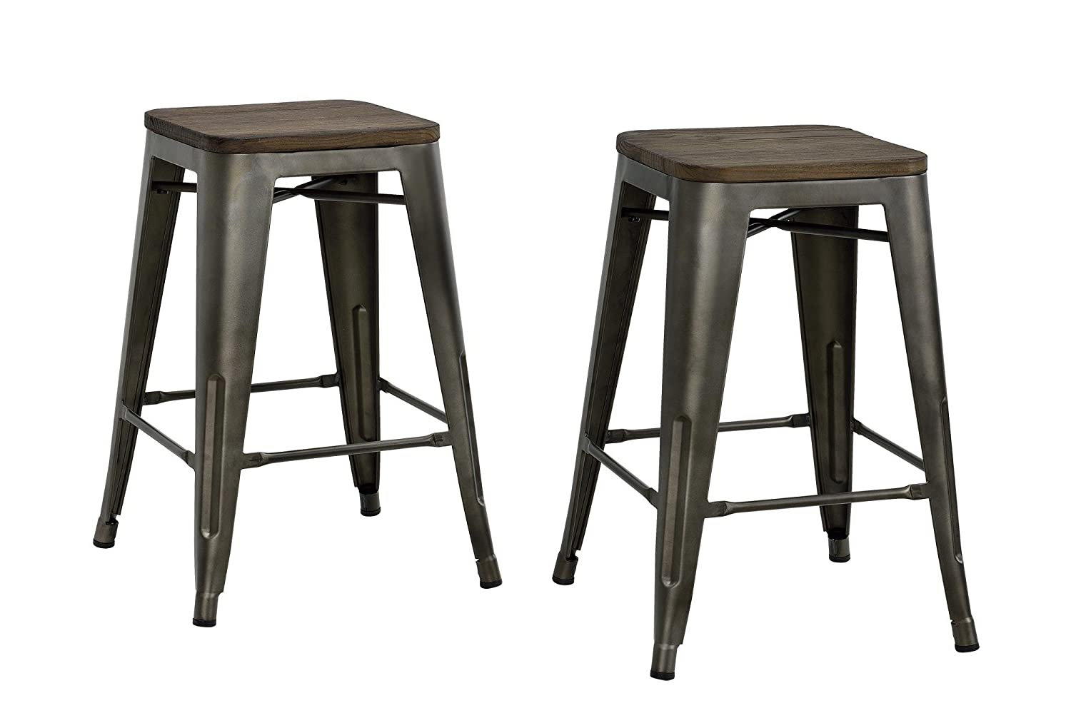 Amazon.com: DHP Fusion Metal Backless Counter Stool with Wood Seat ...
