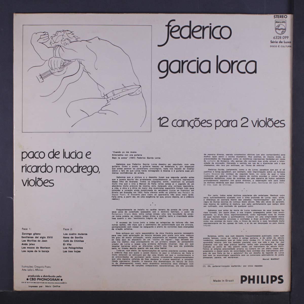 12 cancoes para 2 violoes LP: FEDERICO GARCIA LORCA: Amazon.es: Música