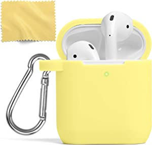 AirPods Case, MUSIC ANGEL Silicone Protective Shockproof Earbuds Case Cover Skin with Keychain kit Set Compatible for Apple AirPods 1 & 2 (Yellow)