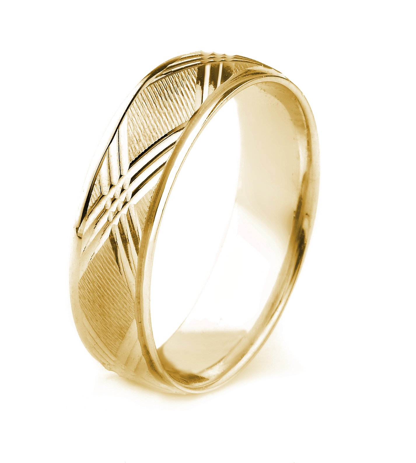 14k Gold Men's Comfort-Fit Carved Wedding Band with Cross Cut Center and Polished Edges (8mm)