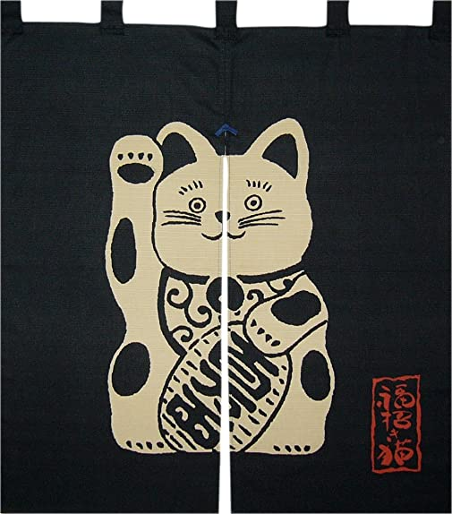 Made in Japan Indigo Dyeing Meneki Neko Noren Curtain Tapestry