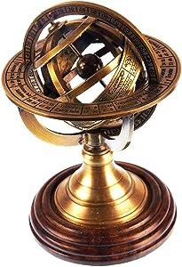 "5"" Nautical Brass Armillary Sphere World Globe Rosewood Base Table Decor Gift"