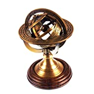 Ares India 5 Nautical Brass Armillary Sphere World Globe Rosewood Base Table Decor Gift by Ares India