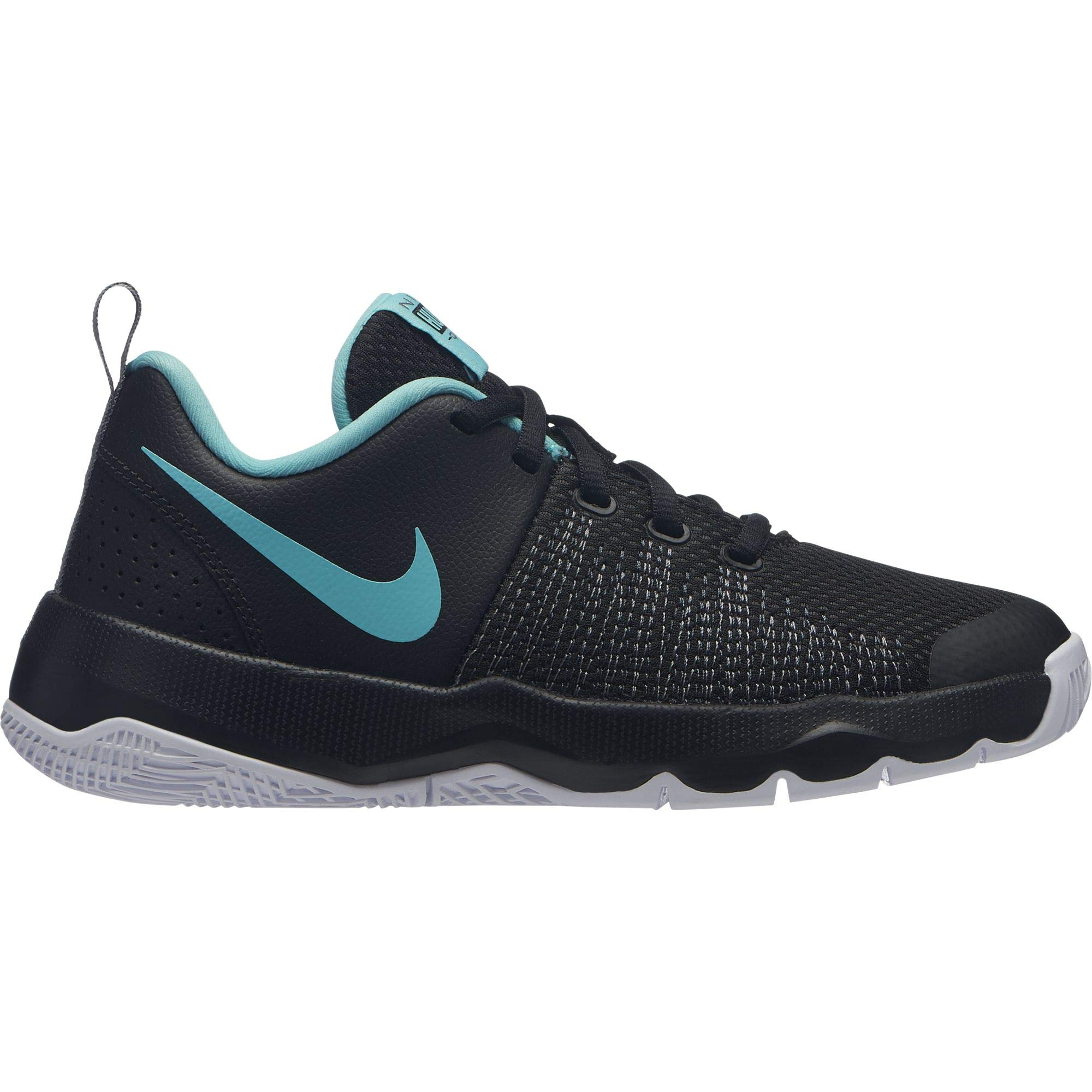 Nike Boy's Team Hustle Quick (GS) Basketball Shoe Black/Aurora Green/Cool Grey Size 5.5 M US
