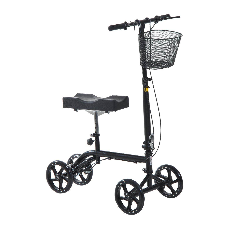 HomCom Steerable Knee Walker Scooter with Basket - Black