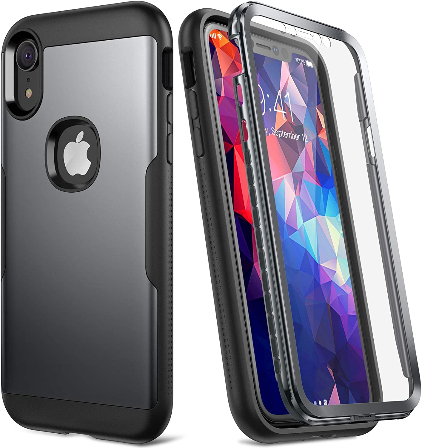 YOUMAKER Metallic Designed for iPhone XR Case, Full Body Rugged with Built-in Screen Protector Slim Fit Shockproof Cover for iPhone XR 6.1 Inch - Black