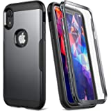 YOUMAKER Metallic Designed for iPhone XR Case, Full Body Rugged with Built-in Screen Protector Slim Fit Shockproof Cover for