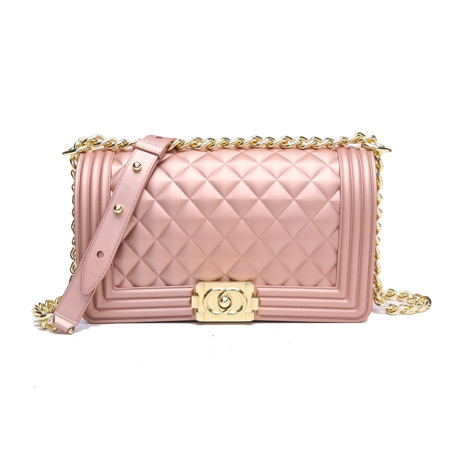 4989fc0fb0ce1 Galleon - Classic Silicon Quilted Crossbody Bag Luxury Shoulder Handbags  Purses For Womens Girls (Pink)