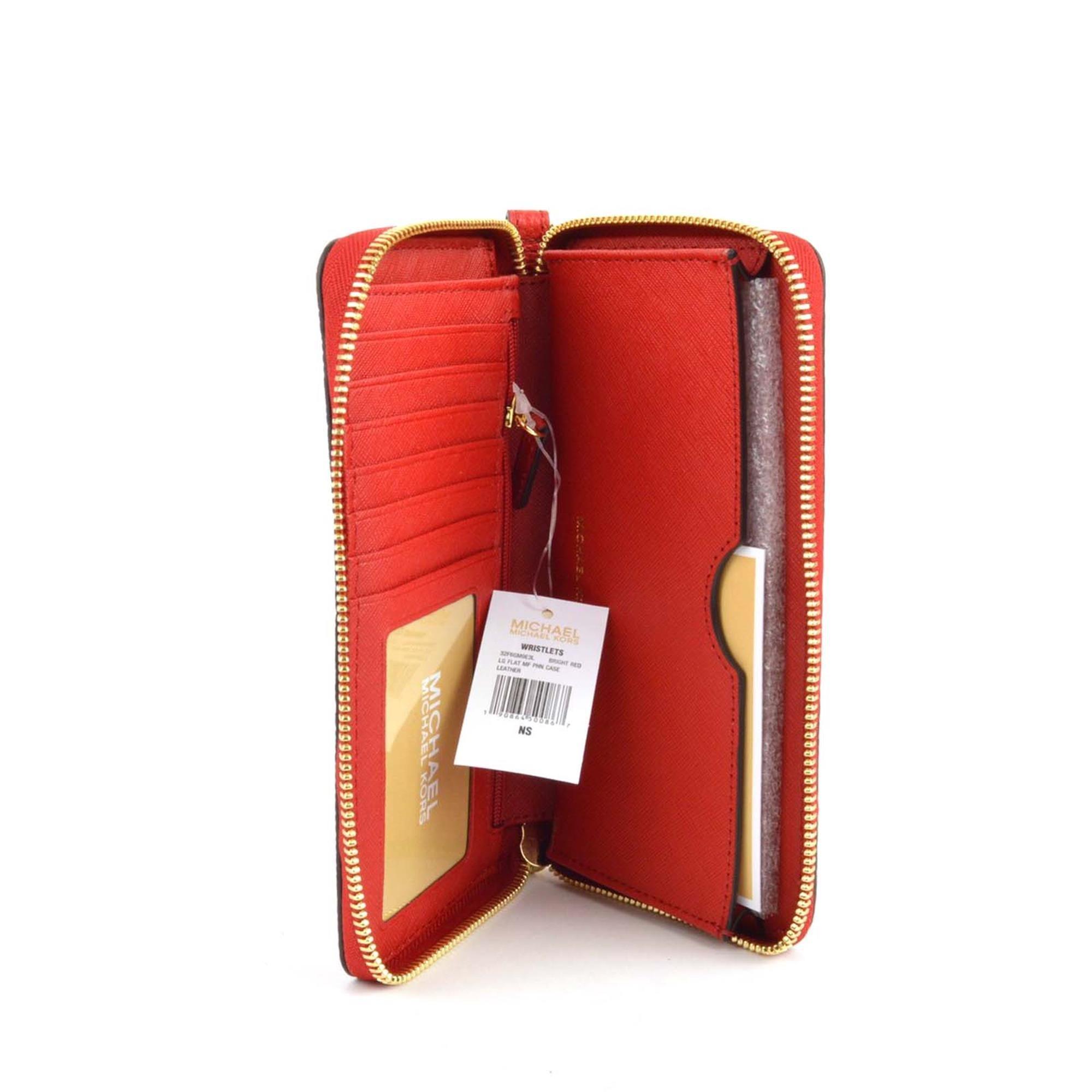 Michael Kors Giftables Jet Set Travel Flat Leather Phone Case (Tangerine Orange)