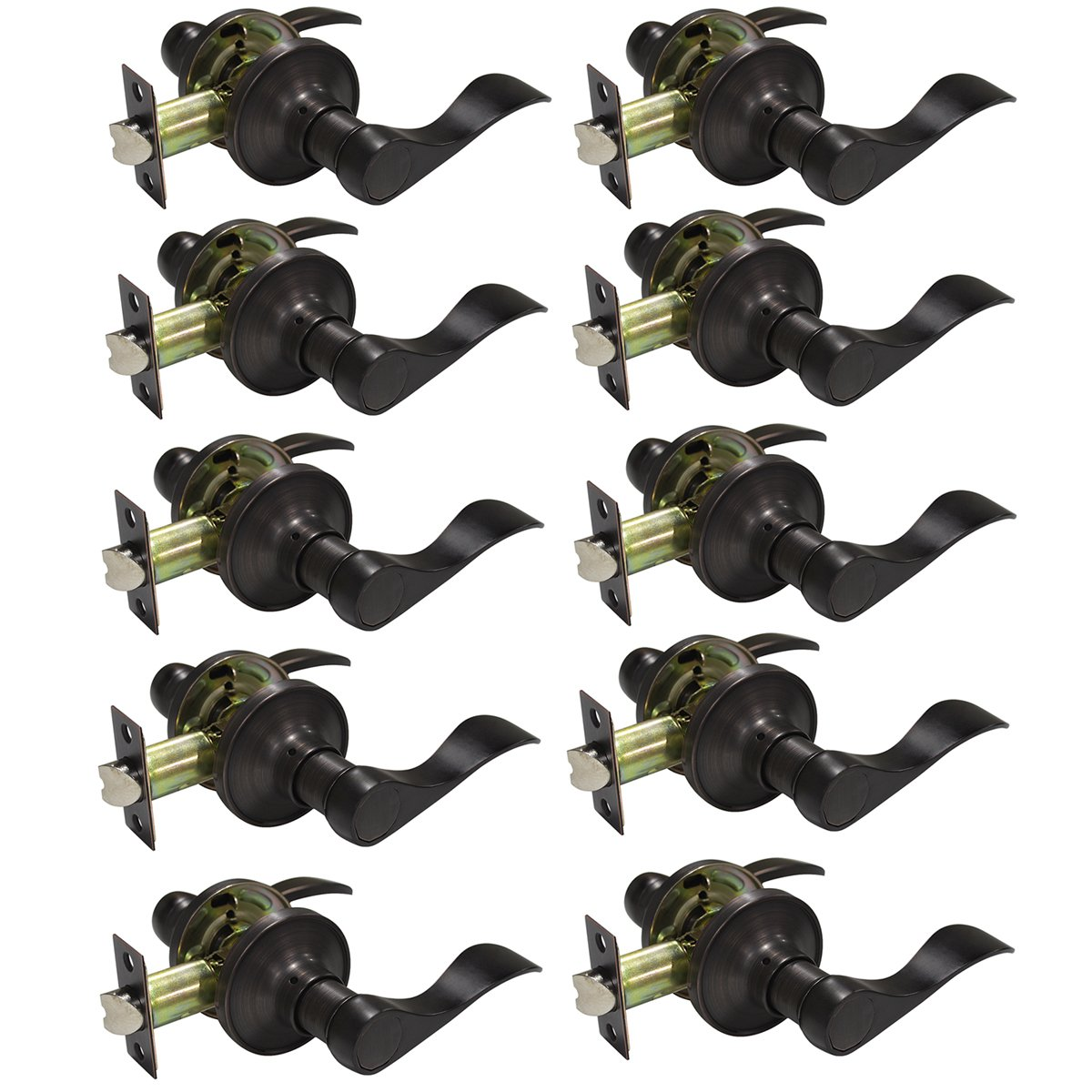 Probrico Oil Rubbed Bronze Privacy Door Lever Handles Keyless Lock Set Leversets (Bed and Bath) 10 Pack