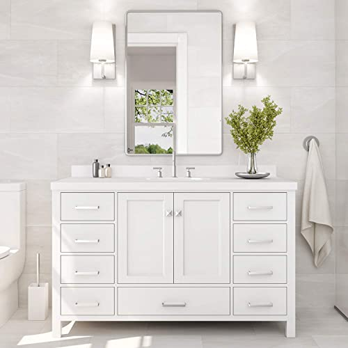 ARIEL 55 Inch Bathroom Vanity in White with Pure White Quartz Countertop Rectangle Sink 2 Soft Closing Doors and 9 Full Extension Dovetail Drawers with Backsplash No Mirror