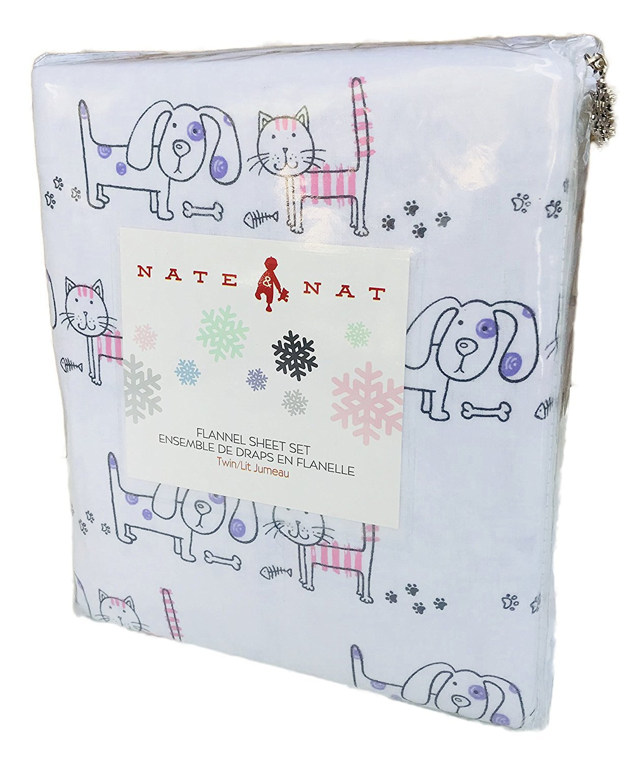 NATE & NAT Kids Cats & Dogs Flannel Sheet Set - FULL SIZE (all cotton flannel)