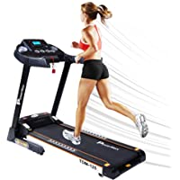 PowerMax Fitness Unisex Adult TDM-125 Semi Auto Lubricating Treadmill With Android & Ios App - Black, General-Foldable