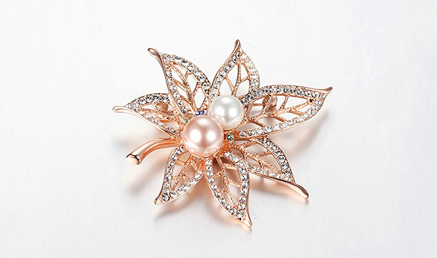 Aooaz Jewelry Gold Plated Base Brooch Hollow Leaves CZ Pearl Brooches for Girl Gold