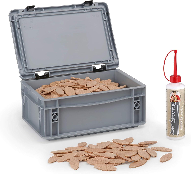 WFix - Tacos planos (tamaño 10, 500 unidades, en caja de almacenamiento, incluye pegamento para madera de 0,25 kg, compatible con fresadora y fresadora de láminas