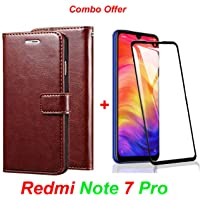 Goelectro Redmi Note 7 Pro / Note7 Pro (Combo Offer) Leather Dairy Flip Case Stand with Magnetic Closure & Card Holder Cover + 6D Curved Tempered Glass Screen Protector (Brown Flip)