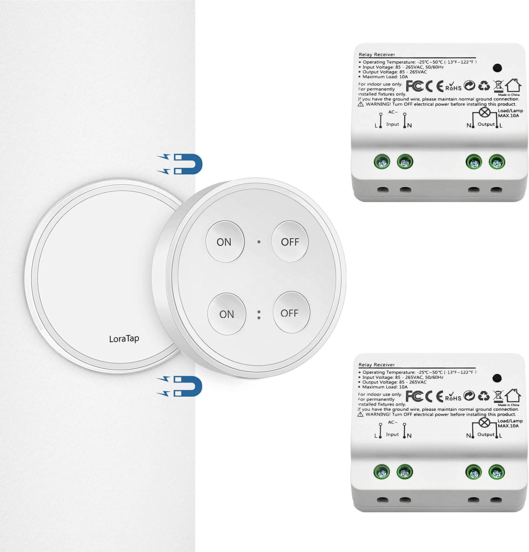 Kit de Interruptor de Luces Inalámbricas, LoraTap Interruptor Inalámbrico + 2 Piezas Receptor de Relevo Control Remoto de Radio Hasta 200m Mando a Distancia para Casa Iluminación y Electrodomésticos
