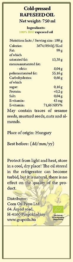 Grapoila aceite de bio-colza prensado en frío (750 ml): Amazon.es: Alimentación y bebidas