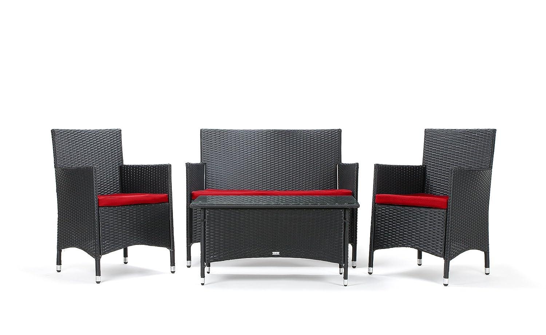 Rattan4life 4 Teilig Avignon Deluxe Polyrattan Gartenmöbel Set Sofa