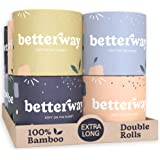 Organic Bamboo Toilet Paper - 2X Longer - 360 Sheets/roll - 3 PLY - 12 Double Rolls - Plastic Free & Extra Strong - Septic Sa